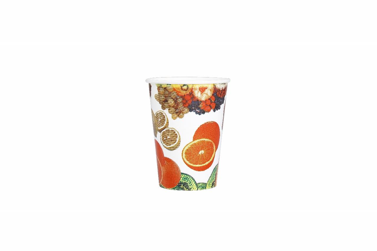 Meyvee desenli zemin baskılı karton bardak